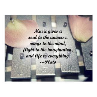 Music gives soul bells rose design post cards