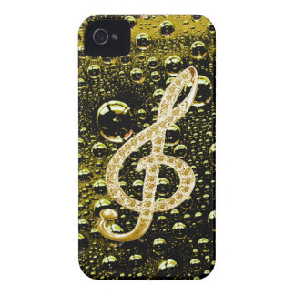 Music Glef Symbols with rain drop background iPhone 4 Case-Mate Cases