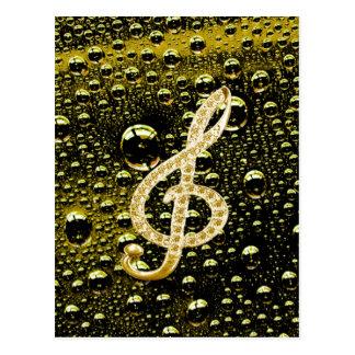 Music Glef Symbols with rain drop background Post Card