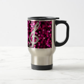 Music Glef with light background Stainless Steel Travel Mug
