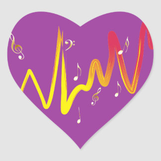 Music (gold, yellow, red 1) heart sticker