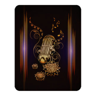 Music, golden microphone 11 cm x 14 cm invitation card
