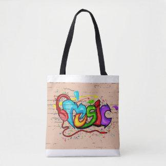 Music graffiti print bag