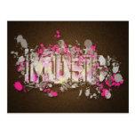 Music graffiti style sign magenta brown postcard