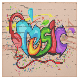 Music Graffiti Wall Fabric