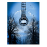 music guitar postcard