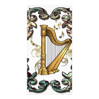 Music, harp with decorative floral elements personalised photo card