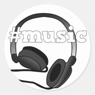 #Music Headphones Digital Art Graphic Design Classic Round Sticker