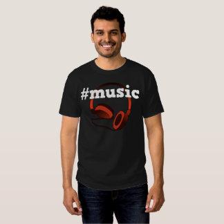 #Music Headphones Men's Digital Art Black Shirts