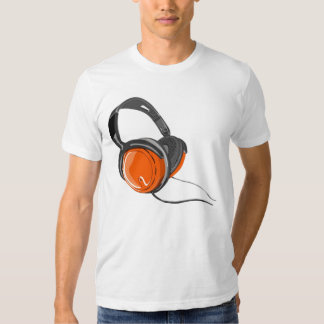 music headphones orange black tshirt