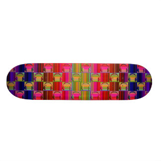 Music Headphones Psychedelic Mosaic Pattern Skateboards