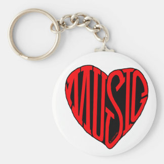 Music Heart Basic Round Button Key Ring