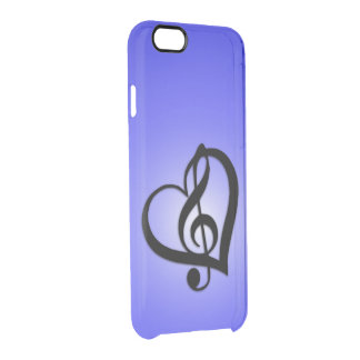 Music Heart on Periwinkle Clear iPhone 6/6S Case