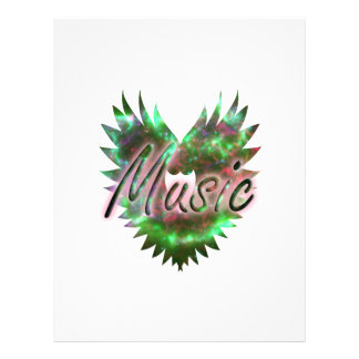Music heart wing overly nebula 1 green pink 21.5 cm x 28 cm flyer