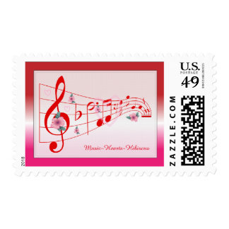 Music – Hearts - Hibiscus Postage Stamp