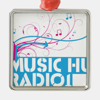 Music Hut Radio 1 items Silver-Colored Square Decoration