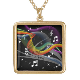 Music Illustration custom monogram necklace
