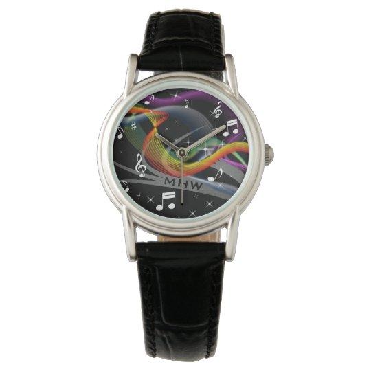 Music Illustration custom monogram watches