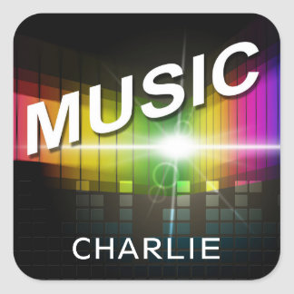 Music Illustration custom name stickers