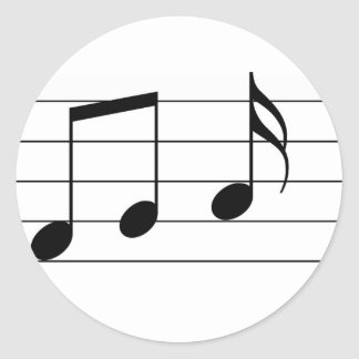 Music illustration. Eighth and sixteenth notes. Round Sticker