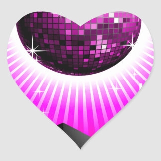 music illustration with speaker and disco ball heart sticker
