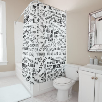 Music in Different Languages Shower Curtain