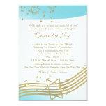 Music in the Air Bat Mitzvah 13 Cm X 18 Cm Invitation Card