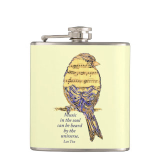 Music in the Soul Heard Universe music note Bird Hip Flask