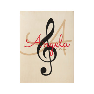 music inspired monogram wood poster
