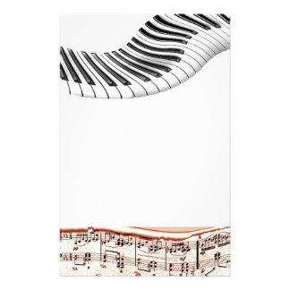Music Instruments Keyboard Piano Notes Art Personalized Stationery
