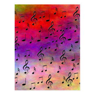 Music  Instruments  notes dance tunes radio keys Postcard