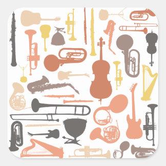 Music Instruments Square Sticker