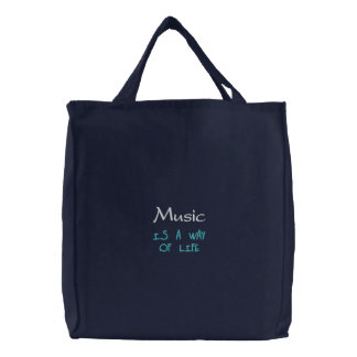 Music is A Way Of Life Embroidered Bag