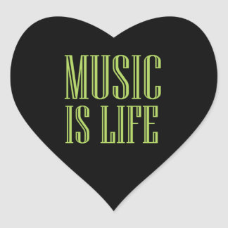 """""""Music Is Life"""" Black And Green Heart Sticker"""