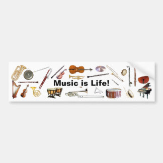 """Music is Life"" Instrument Bumper Sticker Car Bumper Sticker"