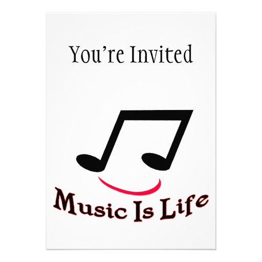 Music Is Life Musical Note Smiley Personalized Announcements