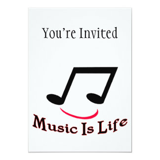 Music Is Life Musical Note Smiley 5x7 Paper Invitation Card