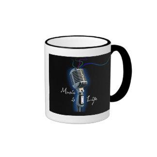 Music is Life Ringer Coffee Mug