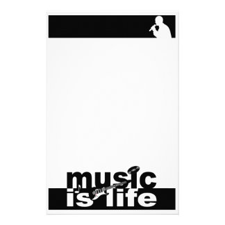 Music is Life stationary, customize Stationery