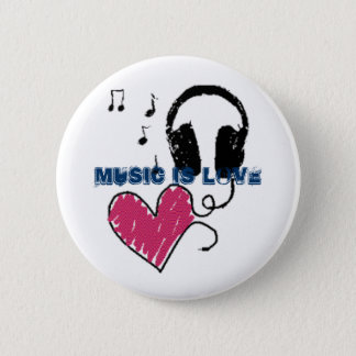 Music is love 6 cm round badge