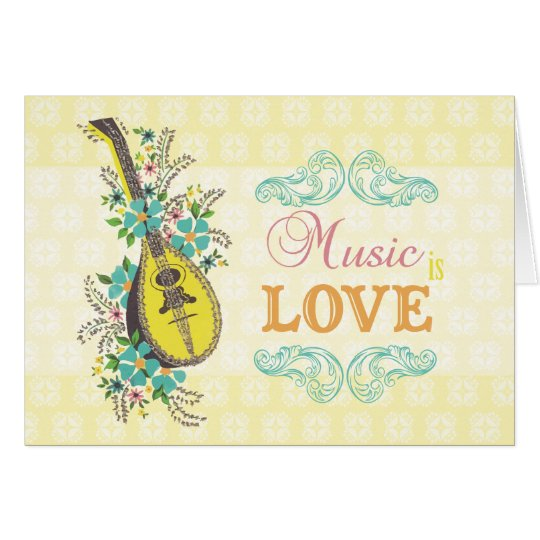 Music is Love Vintage Yellow Guitar and Flowers Card