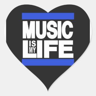Music is My Life Blue Heart Sticker