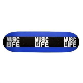 Music is My Life Blue Custom Skateboard