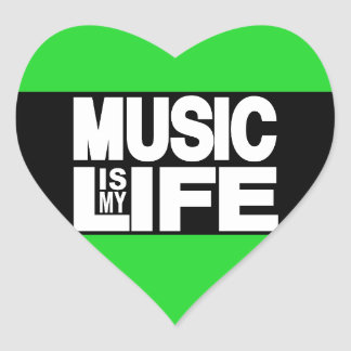 Music is My Life Green Heart Sticker