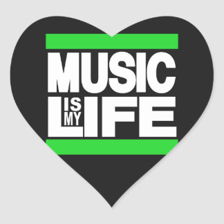 Music is My Life Green Heart Stickers