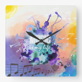 Music Is My Life Illustration Square Wall Clock