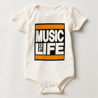 Music is My Life Orange Baby Bodysuit