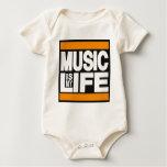 Music is My Life Orange Baby Bodysuits