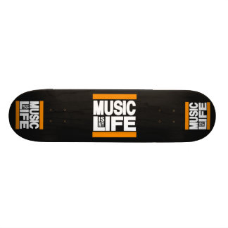 Music is My Life Orange Custom Skate Board