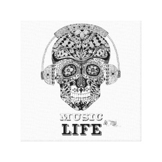 Music Is My Life - Ornate Skull Canvas Print